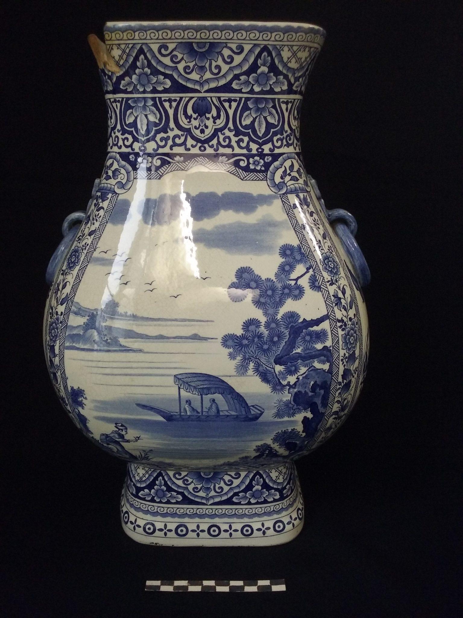 potiche vase gien décor imprimé