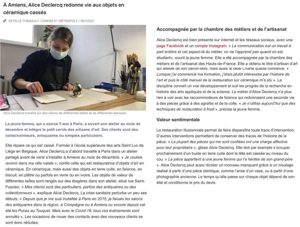 article presse courrier picard restauration céramique réparation faïence porcelaine amiens somme picardie hauts de france