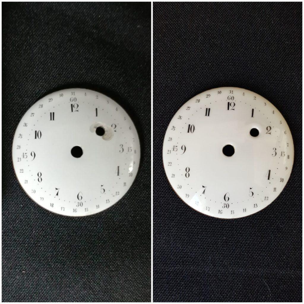 Restauration répration cadran montre, horloge, émail sur métal, métal émaillé