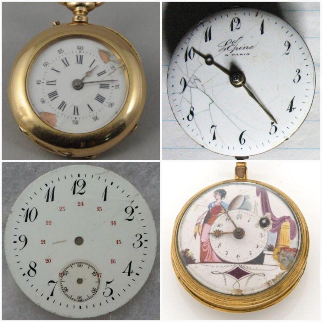 Cadran de montre, horloge, pendule, métal émaillé, émail sur métal, cuivre