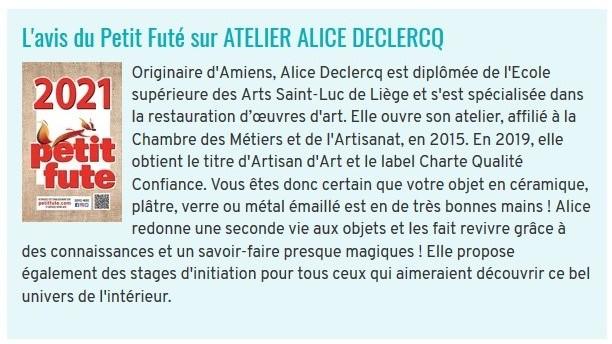 Petit Futé atelier alice declercq restauration de céramiques